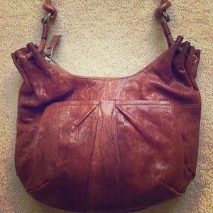 Olivia Harris Whiskey Brown Leather Boho Bag Purse